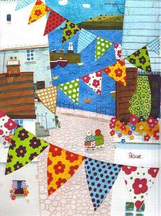 'Bunting Galore' by Natalie Pascoe. Artwork depicting Cornish life