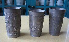 3 Old Pewter Souvenir CUPS - German, French - 1900 Exposition Universelle Paris