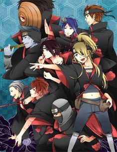 Deidara, Hidan, Kakuzu, Konan, Pein, Sasori, Tobi, Uchiha Itachi, Akatsuki