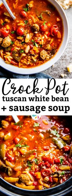 Make your family feel warm and cozy around the dining table tonight: Serve this Sausage Tuscan White Bean Soup - made in the crock pot for easy meal prep! It's easy to put together and your slow cooker does the work for you - perfect to have dinner waiting for you on busy weeknights! This recipe is tomato based, filled with healthy vegetables and so hearty and rustic to warm you up on cold fall and winter days. | #recipes #comfortfood #family #kidfriendly #fall #slowcooker #soup #crockpot