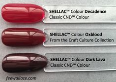 Oxblood Shellac Colour Comparison by Fee Wallace Oxblood Shellac Colour Comparison by Fee Wallace Cnd Colours, Shellac Nail Colors, Shellac Nails, Oxblood Nails, Pretty Nail Colors, Nail Effects, Creative Nail Designs, Trendy Nails, Christmas Nails