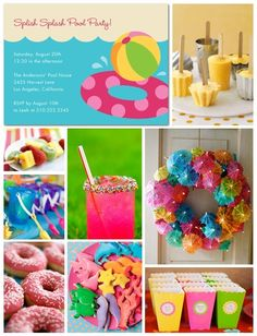 Pool party decor & snacks ... I LOVE the umbrella wreath :)