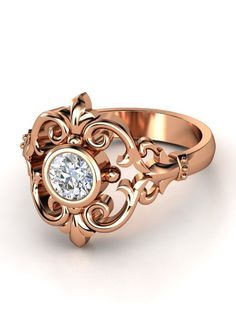 Scroll diamond ring