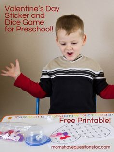 Valentine's Day Sticker and Dice Game for Preschool -- Moms Have Questions Too