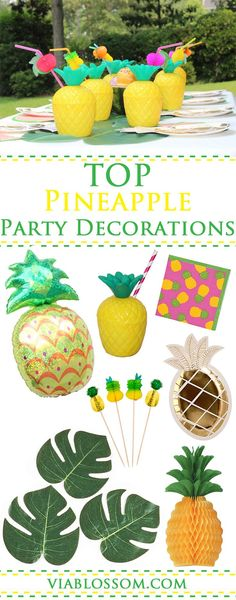 Top Pineapple Party Decorations for a Fabulous Summer Party, Luau Party or a Flamingo Party!  All the Fruity Party Supplies you will need for a tropical celebration!