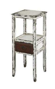 "Antique Accent End Table with Drawer by FurnitureMaxx.com. $129.99. 1 Drawer Accent Table. Layered Antique White Finish. Unique addition to any room in your home.. Product Dimension :13""L X 13""W X 30""H. Combines an antique, weathered look with a rustic, industrial feel.. Fully assembled. The Parcel Collection combines an antique, weathered look with a rustic, industrial feel. Its distressed look is trendy, popular and full of unique character. The Layered Antique Wh..."