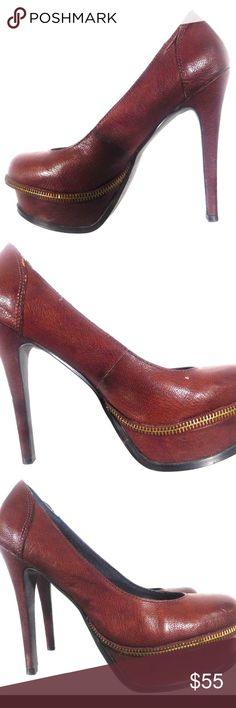 2f0cd756a3a Calvin Klein Gabby Taupe Burnished Grainy Pumps 8 Calvin Klein Gabby Womens  Taupe Burnished Grainy Leather