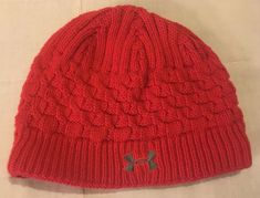 2e39f8fe46e Adult Womens Red Under Armour One Size Lined Acrylic Knit Beanie Toboggan  Hat  fashion