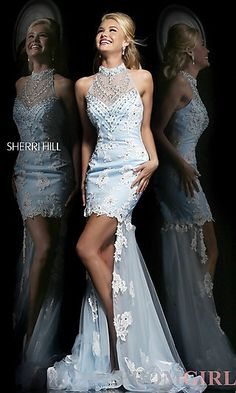 High Low Light Blue Sherri Hill Dress at PromGirl.com