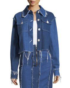 Tessa+Button-Front+Frayed+Denim+Jacket+by+REJINA+PYO+at+Bergdorf+Goodman.