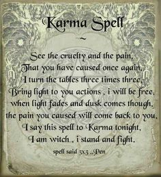 Should you summon Karma? Witch Spell Book, Witchcraft Spell Books, Magick Spells, Wiccan Books, Hoodoo Spells, Luck Spells, Spells For Beginners, Witchcraft For Beginners, Karma Spell
