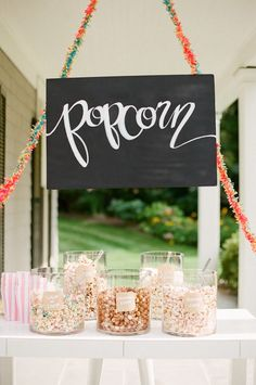 A proper movie night isn't complete without a popcorn bar. Party Catering, Wedding Reception Food, Wedding Day, Wedding Popcorn Bar, Reception Ideas, Trendy Wedding, Wedding Styles, Dream Wedding, Diy Party Dekoration