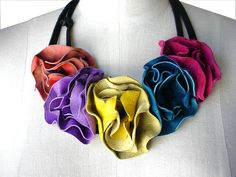 Multi Color Leather Flower Bib Necklace Leather Boho by ManoBello