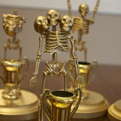 These Skeleton Trophies are an easy and inexpensive way to give out costume contest awards during Halloween.