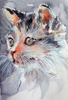 ARTFINDER: Little cat by Kovács Anna Brigitta - Original watercolour painting on high quality watercolour paper. I love landscapes, still life, nature and wildlife, lights and shadows, colorful sight. Thes...