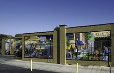 This mural celebrates the friendly and vibrant atmosphere of Oakley and its culture. This triptych invites the viewer to be a part of life in Oakley, sharing the moments throughout the day: morning, noon and night. Cincinnati Art, Triptych, Chalk Art, Art Therapy, Public Art, Murals, Invites, Oakley, Street Art