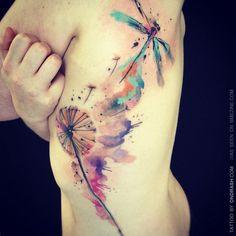 Wonderful Watercolor tattoo | http://best-wonderful-tatoos.blogspot.com #dragonfly