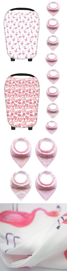 Floral Styles Multi-Use Nursing Cover Scarf Baby Car Seat Canopy for Breastfeeding with 4 Pack of Baby Bandana Drool Bibs