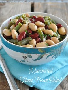 Marinated Three Bean Salad, A healthy and nutritious salad that is perfect for any occasion this spring! Quick Recipes, Cooking Recipes, Healthy Recipes, Salad Recipes, Healthy Cooking, Healthy Meals, Yummy Recipes, Yummy Food, Salads