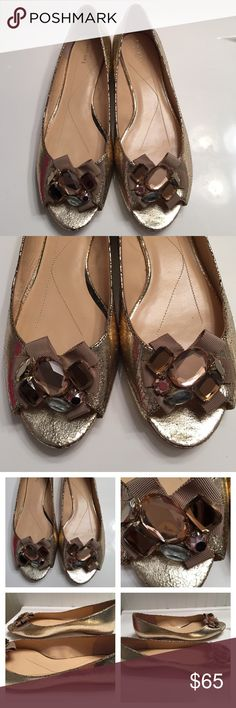 Kate Spade Gold Jeweled Metallic Flats 10M Kate Spade Jeweled Metallic Gold Flats.Gently Worn .Size 10M. All Jewels in tact. The soles are showing gently wear more than Tops. 💕 These Run Smaller than Size💕Please ask all questions prior to buying kate spade Shoes Flats & Loafers