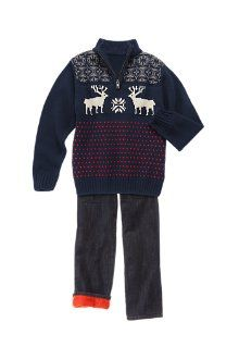 Red-Cuff Reindeer sweater + holiday outfits for boys