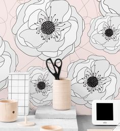 """Removable peel and stick wallpaper used in my """"hers master closet""""."""