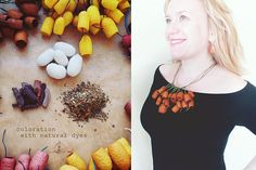 Organic   Necklace terracotta Silk Сocoons necklace . eco