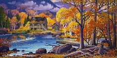 St-Gilles, 'La belle saison, Lac Tremblant, Qc.', 20'' x 40'' | Galerie d'art - Au P'tit Bonheur - Art Gallery Art Gallery, Galerie D'art, Impressionist Paintings, Quebec City, Fairy Tales, Saints, Illustrations, Fine Art, Painters