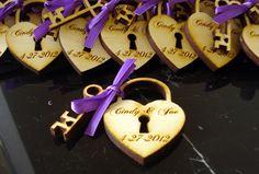 Heart and Skeleton Key Wedding Favors 215 sets. $215.00, via Etsy.