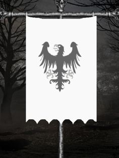 Banner of Ravenhold. Famous for its ravens, and despite their ominous foreboding presence, Ravenhold is peaceful, significantly small and hidden. The keep is built on the edge of Wolfswood, overlooking the Bay of Ice.