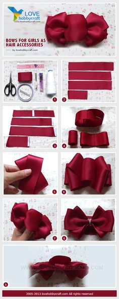 Bows for girls as hair accessories – Hair Accessories Diy 2020 How To Make A Ribbon Bow, Diy Ribbon, Ribbon Work, Ribbon Crafts, Flower Crafts, Making Hair Bows, Diy Hair Bows, Diy Bow, Hair Bow Tutorial
