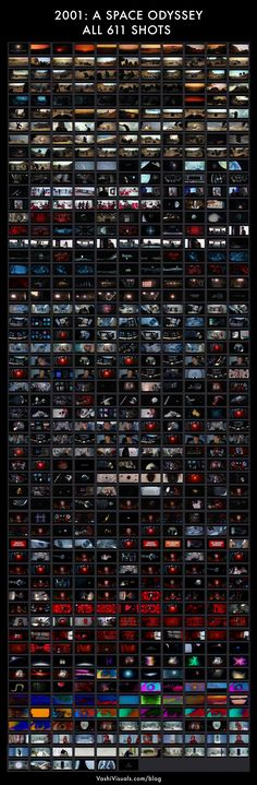 "All 611 shots from ""2001: A Space Odyssey"" by Stanley Kubrick (uploaded by Vashi Visuals)"