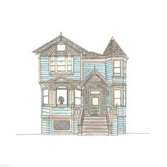 50! :D Detailed House | Rebecca Horne, illustration