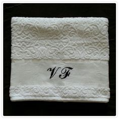 Stylish monogrammed body towel! - Karsten towel, 99% cotton and 1% viscose - All designs are customized - jymcreations@gmail.com. #Handmade #Crossstitch #Bodytowel