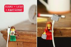 LEGO craft: Love that minifigs are the perfect size to hold phone or tablet cords! Just attach to a desk or nightstand.