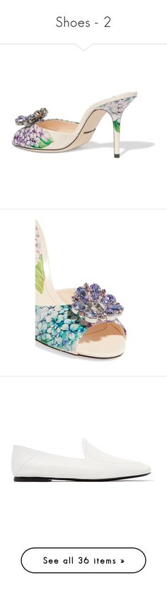 """""""Shoes - 2"""" by cilita-d ❤ liked on Polyvore featuring shoes, high heel mule shoes, blue leather shoes, colorful shoes, mule shoes, slip-on shoes, high heel shoes, dolce gabbana shoes, loafers and white"""