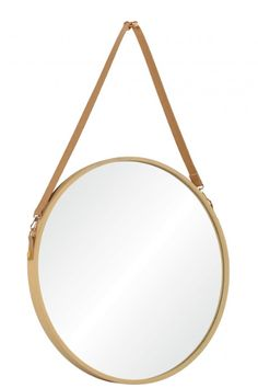 Leather Strap Mirror – Four Chairs Furniture and Design Wall Mirrors, Round Mirrors, Metal Mirror, Wood Detail, Gold Wood, Gold Accents, Hanging Chair, Chairs, Leather
