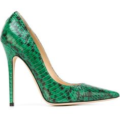 Jimmy Choo Anouk Pumps ($688) ❤ liked on Polyvore featuring shoes, pumps, green, heels, snake skin pumps, snakeskin pumps, stiletto pumps, green pumps and leather pumps
