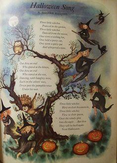 Vintage Halloween Song Poem Art Print 11 x 14 Halloween Poems, Vintage Halloween Cards, Fairy Halloween Costumes, Halloween Prints, Halloween Pictures, Spooky Halloween, Holidays Halloween, Happy Halloween, Halloween Decorations