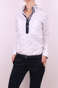 Dámska biela košeľa Polka Dot Top, Shirts, Tops, Women, Fashion, Moda, Fashion Styles, Dress Shirts, Fashion Illustrations
