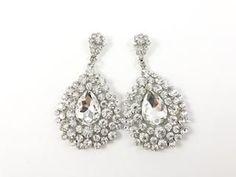 Large Dangling Pear Shaped Design Earrings
