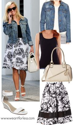 Reese Witherspoon in black & white in a leaf print skirt, black top, and denim jacket - celebrity street style!