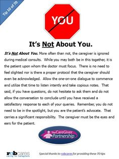 Today's Tip in Honor of National Caregiver Month: It's NOT About You  #caregiver #caregiving