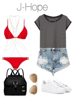 """《Day at the Beach: J-Hope》"" by mh-loves1d ❤ liked on Polyvore featuring Melissa Odabash, New Look, Ray-Ban, One Teaspoon, adidas, MANGO and MICHAEL Michael Kors"