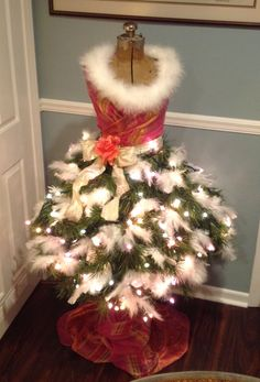 """My version of """"AuTree"""" Hepburn! The Dress Form Christmas Tree from repurposed pieces & parts... :)"""