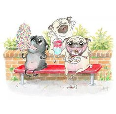 """Outstanding """"black pugs"""" info is offered on our web pages. Pug Illustration, Pug Cartoon, Black Pug Puppies, Pug Pictures, Pug Pics, Pugs And Kisses, Pug Art, Cute Pugs, Funny Pugs"""