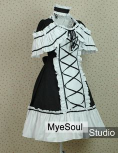 Lolita Dress White and Black Cotton Bands Mantle Gothic