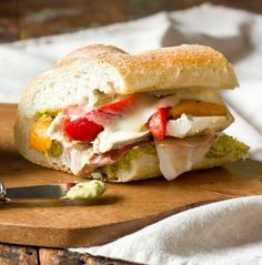 For an easy, satisfying lunch, try this Roasted Red Pepper, Chicken & Mozzarella Sandwich.