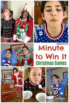 christmas games Play Minute to Win It games great for all ages. So much Christmas fun! Easy to set up and play at holiday gatherings for work, family, friends, or church groups. Minute To Win It Games Christmas, Fun Christmas Party Games, Christmas Games For Adults, Xmas Games, Holiday Games, Kids Party Games, Christmas Fun, Holiday Fun, Minute To Win It Games For Adults