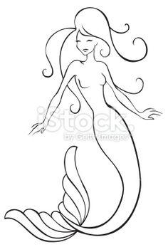 Mermaid Royalty Free Stock Vector Art Illustration – My CMS Mermaid Drawings, Mermaid Tattoos, Art Drawings, Simple Drawings, Mermaid Outline, Mermaid Art, Mermaid Tails, Tattoos Mandala, Tattoos Geometric